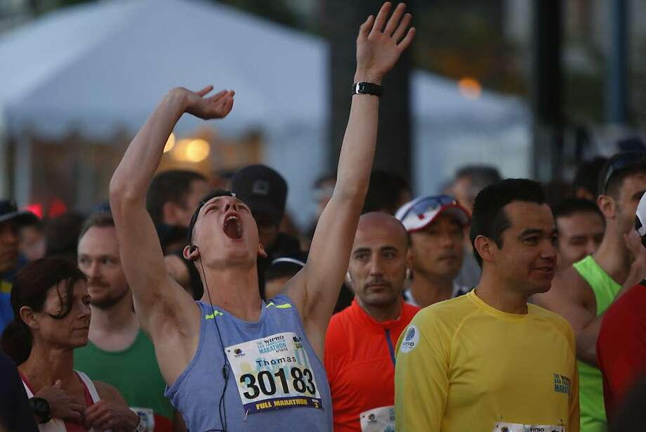 Thomas Selishev cheers before his start during the 2013 Wipro San Francisco Marathon in San Francisco, Calif. on June 16, 2013. Photo: Ian C. Bates, The Chronicle