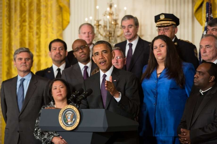 Harris County Sheriff Adrian Garcia (second from left) at the White House in Washington, Tuesday, June 11, 2013, during President Barack Obama's speech about immigration reform in the East Room. Photo: Harris County Sheriff Office