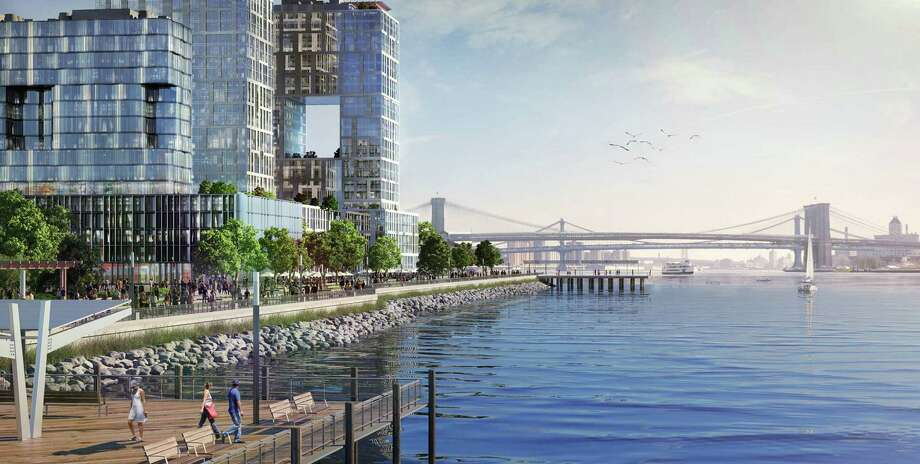 A proposed neighborhood to be built south of the Brooklyn Bridge could act as a buffer against flooding in lower Manhattan. Photo: Courtesy Illustration, New York City Mayor's Office