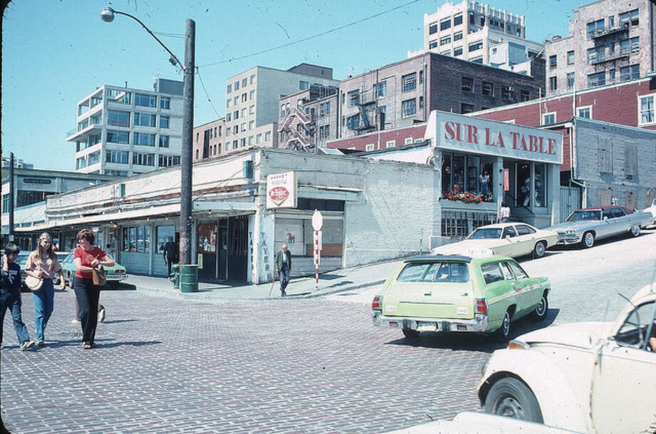 Sur La Table in Pike Place Market in 1978, long before Beecher's Handmade Cheese made this block foodie heaven.