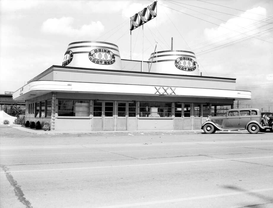 XXX Barrel was a thriving chain of drive-in restaurants, famous for root beer, giant cask signs and a name that conjured adult movies. Here's one of the restaurants in 1940, on 4th Avenue South in Seattle. It's long gone.