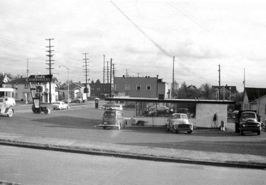 Hint for this caption: This popular chain opened its first drive-in restaurant here. It's pictured under construction in 1953. Photo:  (Courtesy Of Dick's Drive-In Restaurants)