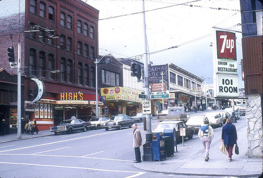 This photo isn't about food, but the bars, taverns and adult-movie houses that once fronted First Avenue near Union Street. Photo is from 1972.