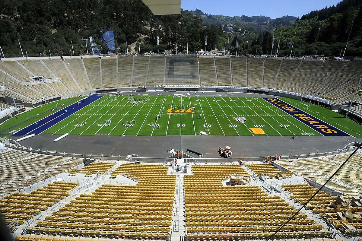 A general view of the stadium with the newly laid synthetic turf. Assistant AD / Capital Planning & Management Bob Milano Jr. gave a tour of the soon to be completed renovations of Cal Memorial Stadium Tuesday July 31st, 2012