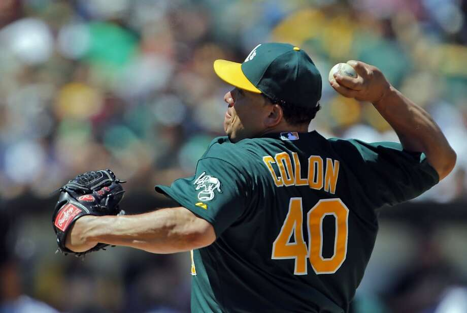 Bartolo Colon allowed seven hits in the first two innings, but only one the rest of the way, as he earned his ninth victory in the A's 10-2 win over the Mariners. Photo: Carlos Avila Gonzalez, The Chronicle