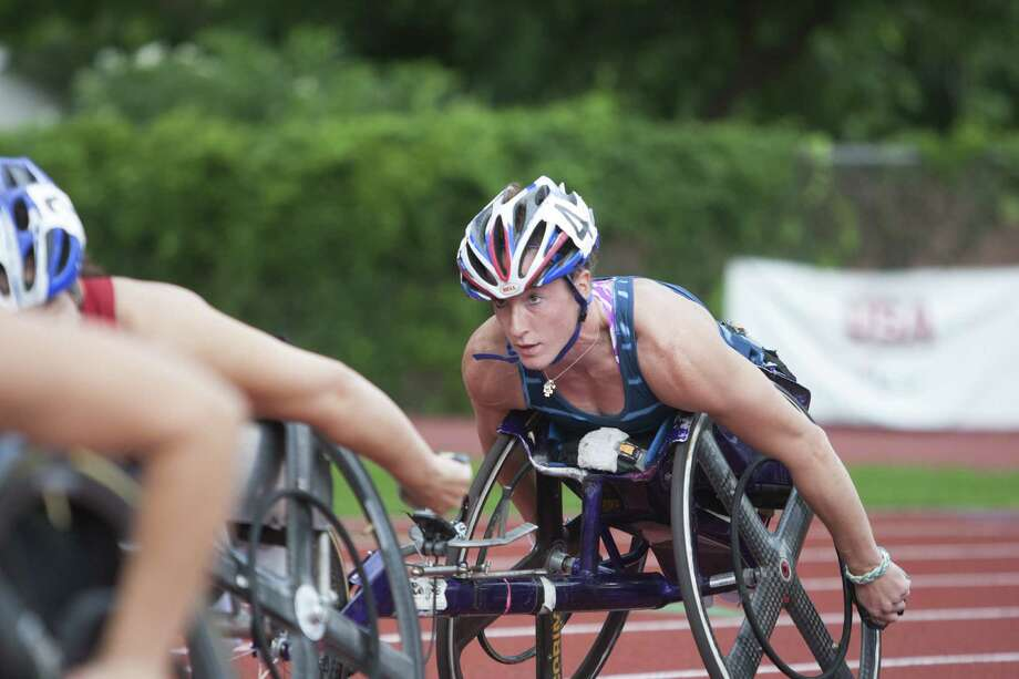 Tatyana McFadden, competing in the 1,500-meter race, won six gold medals over the weekend at the U.S. Paralympic Track and Field Championships at Trinity University. Photo: Abbey Oldham / San Antonio Express-News
