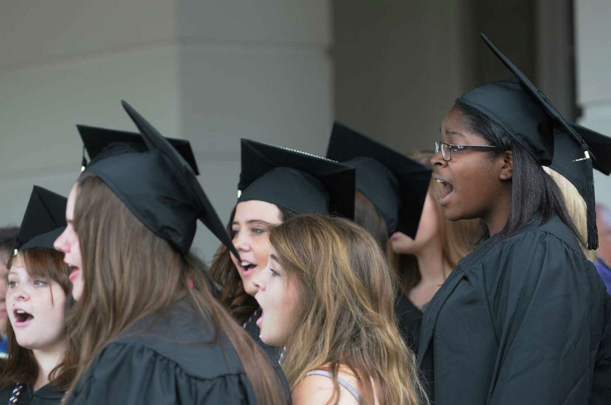 Members of the Garnet Minstrelles sing the National Anthem during Union College Commencement Exercises on Sunday, June 16, 2013 in Schenectady, NY. (Paul Buckowski / Times Union)