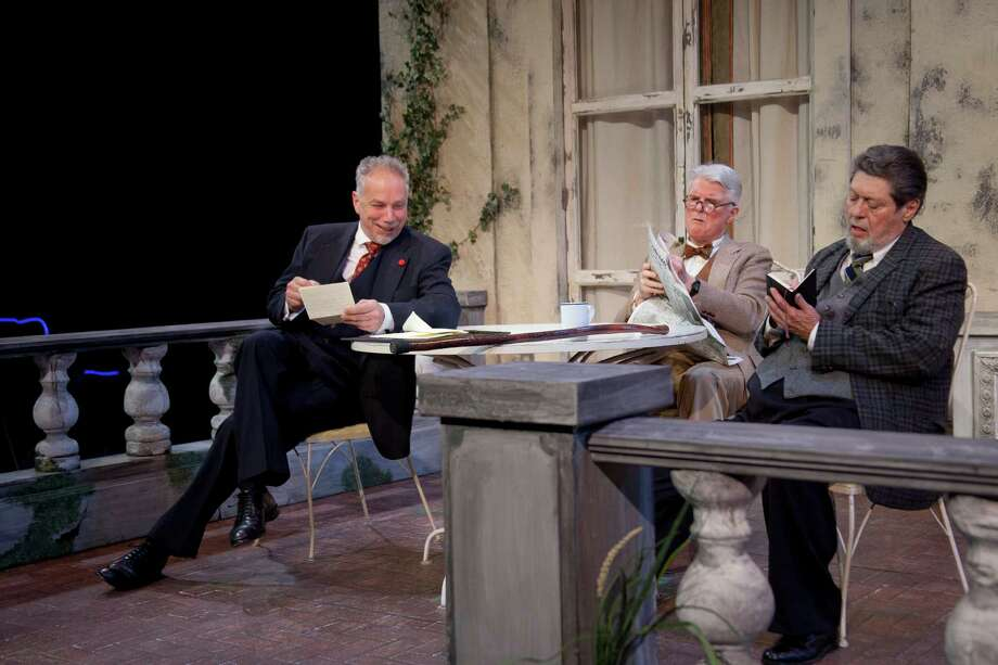 "Jonathan Epstein, Malcolm Ingram, and Robert Lohbauer star in Shakespeare & Company's 2013 production of ""Heroes."" (Kevin Sprague)"