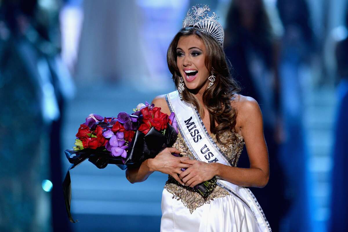 Miss Connecticut USA Erin Brady reacts after being crowned Miss USA during the 2013 Miss USA pageant at PH Live at Planet Hollywood Resort & Casino on June 16, 2013 in Las Vegas.