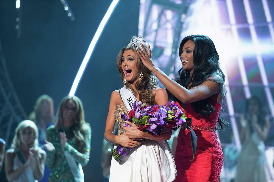 Miss Connecticut USA 2013, Erin Brady of East Hampton, is crowned Miss USA 2013 by Miss USA 2012, Nana Meriwether, at the conclusion of the 2013 MISS USA Competition at PH Live in Las Vegas, Nevada on Sunday June 16, 2013.  She receives the coveted Miss USA Diamond Nexus Crown and will represent the USA at the 2013 MISS UNIVERSE Competition on November 9th from the Crocus City Hall in Moscow, Russia.  HO/Miss Universe Organization L.P., LLLP. Photo: Greg Harbaugh, Miss Universe Organization / Miss Universe Organization L.P., LLLP.