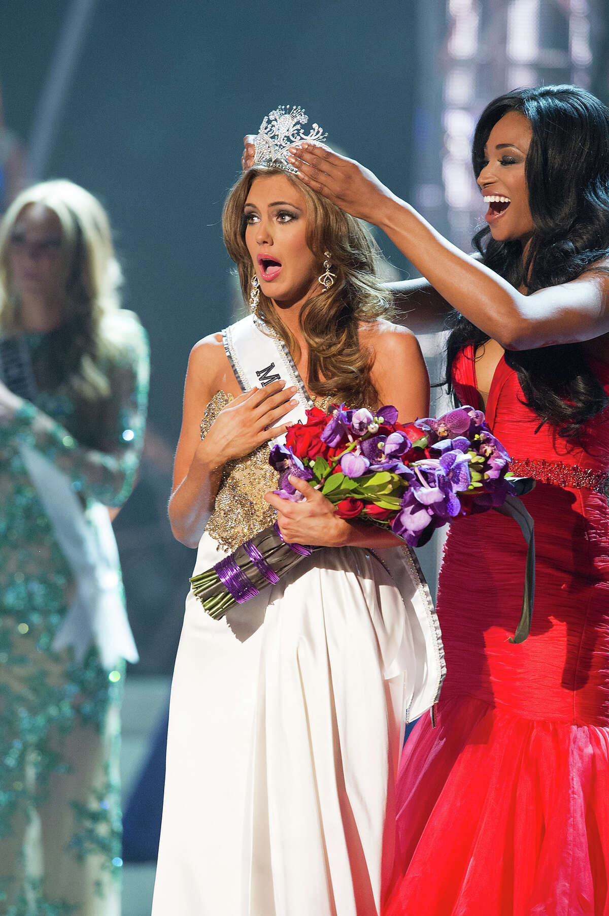 Miss Connecticut USA 2013, Erin Brady of East Hampton, is crowned Miss USA 2013 by Miss USA 2012, Nana Meriwether, at the conclusion of the 2013 MISS USA Competition at PH Live in Las Vegas, Nevada on Sunday June 16, 2013. She receives the coveted Miss USA Diamond Nexus Crown and will represent the USA at the 2013 MISS UNIVERSE Competition on November 9th from the Crocus City Hall in Moscow, Russia. HO/Miss Universe Organization L.P., LLLP.