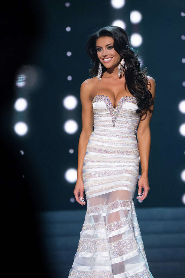 Miss Utah USA 2013, Marissa Powell, competes in her evening gown during the 2013 MISS USA Competition at PH Live in Las Vegas, Nevada on Sunday June 16, 2013. Photo: Patrick Prather, Miss Universe Organization / Miss Universe Organization L.P., LLLP.