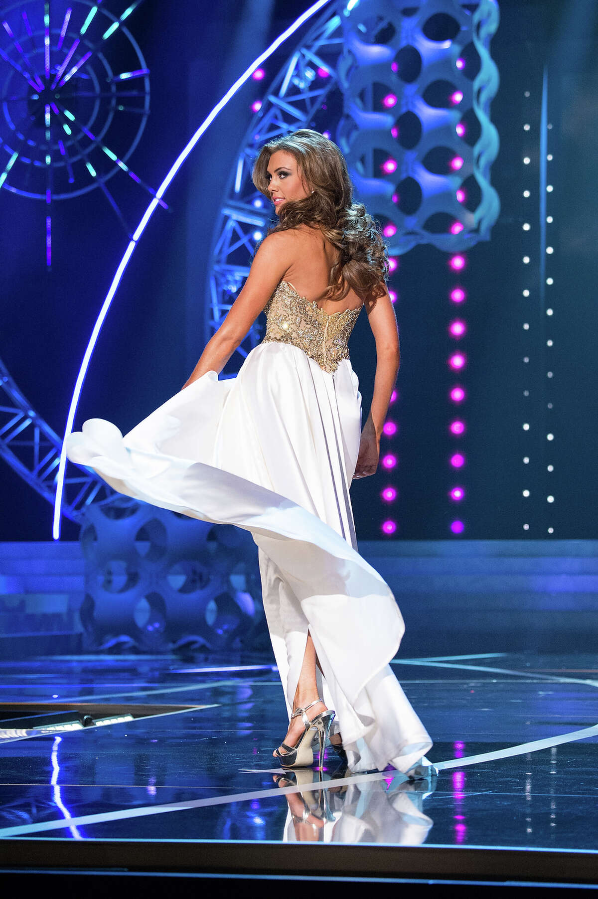 Miss Connecticut USA 2013, Erin Brady, competes in her evening gown during the 2013 MISS USA Competition at PH Live in Las Vegas, Nevada on Sunday June 16, 2013. She was competing for the title of Miss USA 2013, the coveted Miss USA Diamond Nexus Crown, and the chance to represent the USA at the 2013 MISS UNIVERSE Competition in November. HO/Miss Universe Organization L.P., LLLP.