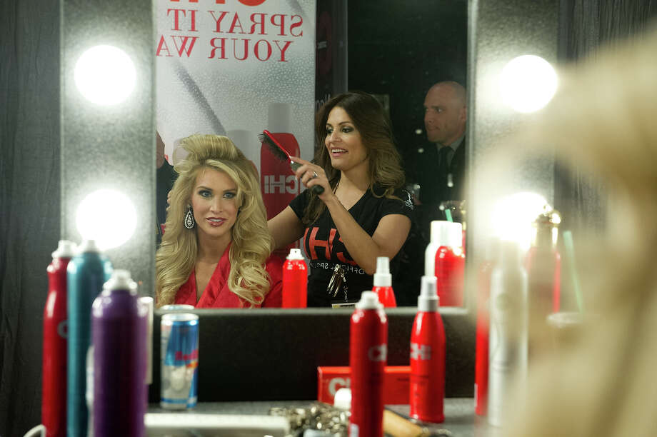 Miss Pennsylvania USA 2013, Jessica Billings, gets her hair done by a Chi Artist before the 2013 MISS USA Competition at PH Live in Las Vegas, Nevada on Sunday June 16, 2013. Photo: Darren Decker, Miss Universe Organization / Miss Universe Organization L.P., LLLP.