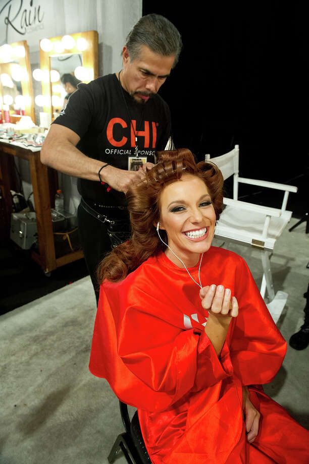 Miss South Dakota USA 2013, Jessica Albers, gets her hair done by a Chi Artist before the 2013 MISS USA Competition at PH Live in Las Vegas, Nevada on Sunday June 16, 2013. Photo: Darren Decker, Miss Universe Organization / Miss Universe Organization L.P., LLLP.
