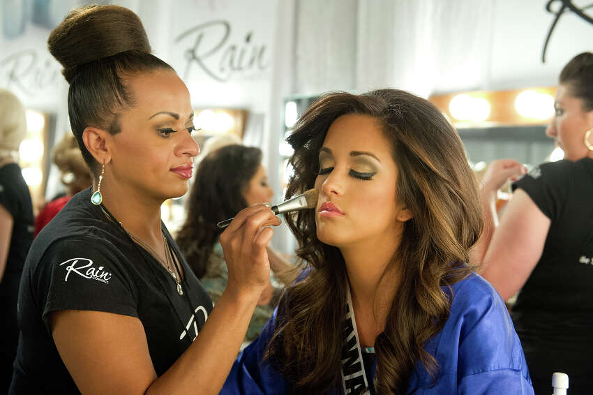 Miss Hawaii USA 2013, Brianna Acosta, gets her make up done by a Rain Make Up Artist before the 2013 MISS USA Competition at PH Live in Las Vegas, Nevada on Sunday June 16, 2013. HO/Miss Universe Organization L.P., LLLP.