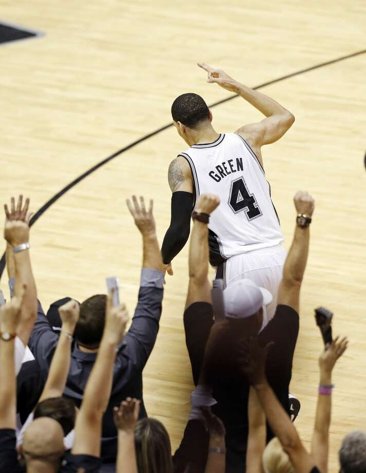San Antonio Spurs' Danny Green reacts after making a 3-pointer during second half action in Game 5 of the 2013 NBA Finals against the Miami Heat Sunday June 16, 2013 at the AT&T Center. The Spurs won 114-104. (Edward A. Ornelas/San Antonio Express-News)