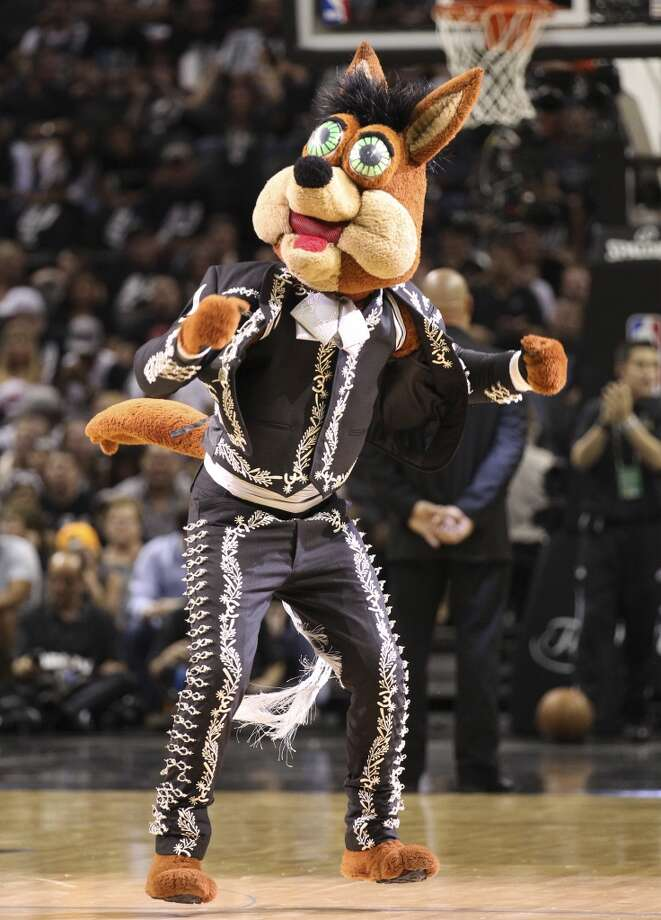 The Spurs' Coyote entertains the crowd during the first half of Game 5 of the NBA Finals at the AT&T Center on Sunday, June 16, 2013. (Kin Man Hui/San Antonio Express-News)