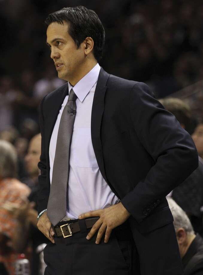 Miami Heat head coach Erik Spoelstra watches his team play during the second half of Game 5 of the NBA Finals at the AT&T Center on Sunday, June 16, 2013. (Kin Man Hui/San Antonio Express-News)