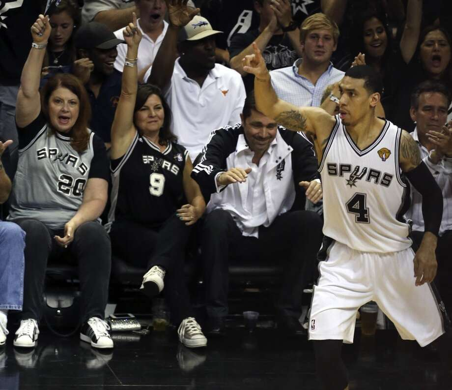 San Antonio Spurs' Danny Green reacts to one of his record-setting three-pointers during the fist half of Game 5 of the NBA Finals at the AT&T Center on Sunday, June 16, 2013. (Jerry Lara/San Antonio Express-News)