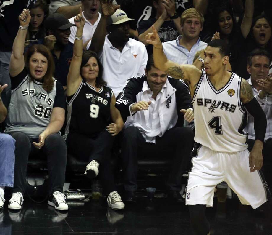 Danny Green takes off after hitting another of his record-setting 3-pointers. Green now has 25 in the series, snapping the NBA Finals record of 22, set by Ray Allen of Boston in six games in 2008. Photo: Jerry Lara / San Antonio Express-News