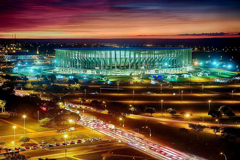 TOPSHOTS General view the Mane Garrincha National stadium in Brasilia on June 14, 2013. Brazil will face Japan on June 15 in the opening match of the FIFA Confederations Cup Brazil 2013.  AFP PHOTO / Jefferson BERNARDESJEFFERSON BERNARDES/AFP/Getty Images Photo: Jefferson Bernardes, AFP/Getty Images