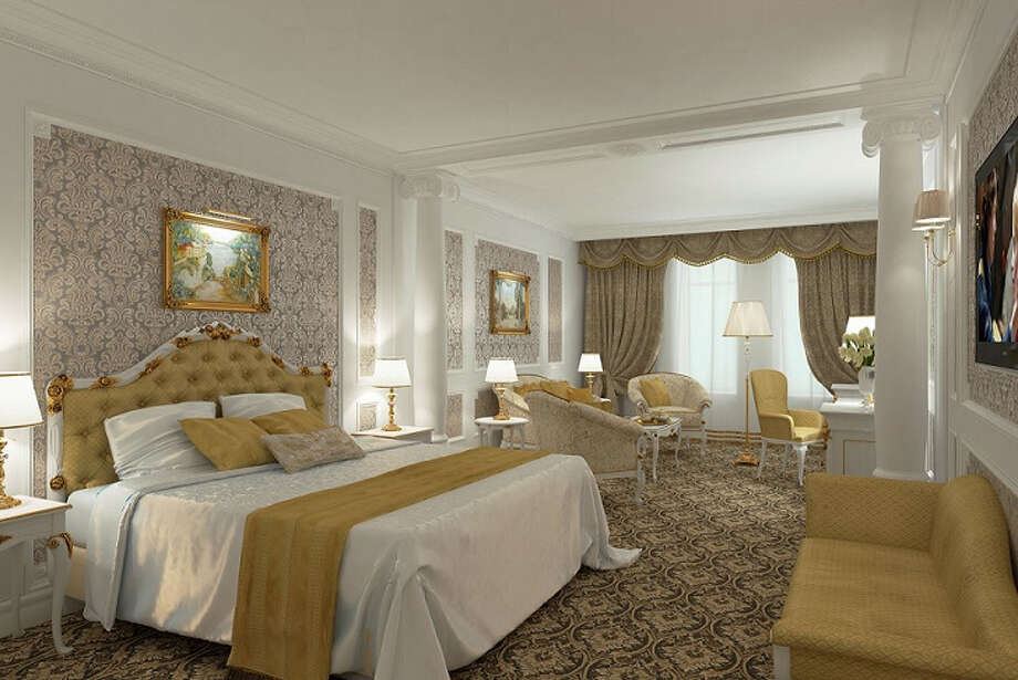 A junior suite of the new State Hermitage Hotel in St. Petersburg  includes luxurious furnishings with color schemes inspired by the Hermitage. Guests can watch shows about the museum's collections on the hotel's in-room TV channel.