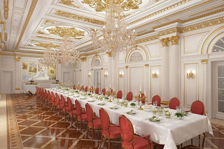 The Rossi Ballroom of the new State Hermitage Hotel in St. Petersburg is named after Carlo Rossi, the architect of the staff building of the Hermitage.