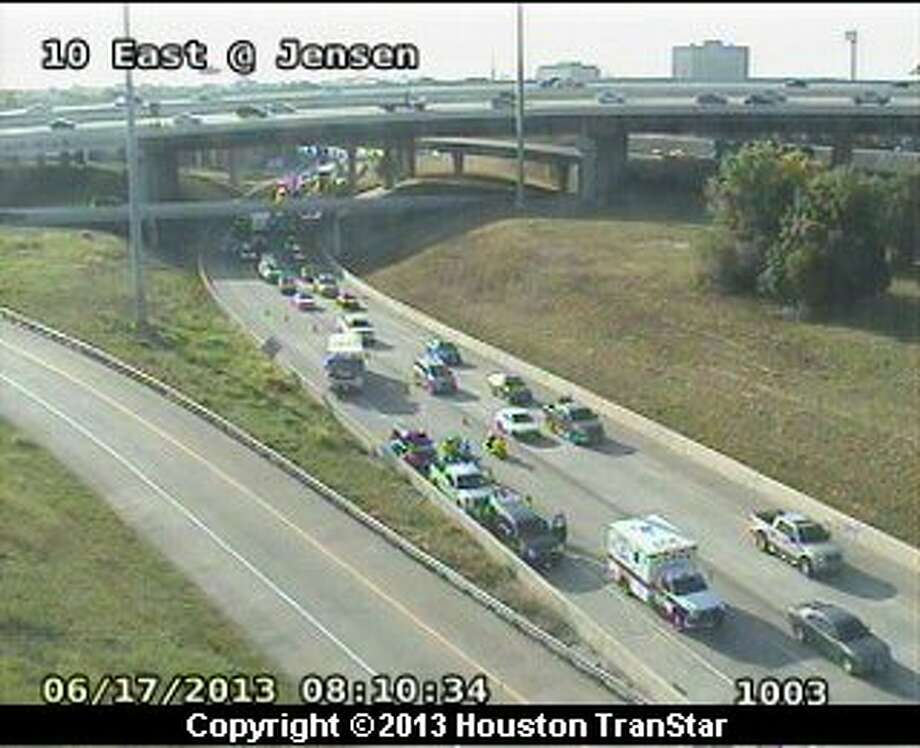 Traffic was slowed on the westbound East Freeway near Jensen after a crash about 8 a.m. Photo: Houston Transtar