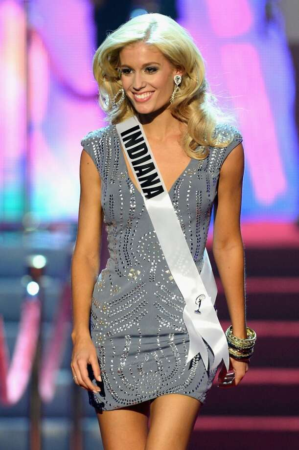 Miss Indiana USA Emily Hart walks onstage during the 2013 Miss USA pageant at PH Live at Planet Hollywood Resort & Casino on June 16, 2013 in Las Vegas, Nevada.
