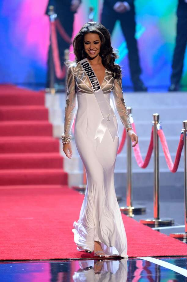 Miss Louisiana Kristen Girault walks onstage during the Miss USA 2013 pageant, Sunday, June 16, 2013, in Las Vegas.