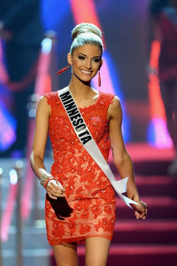 Miss Minnesota USA Danielle Hooper walks onstage during the 2013 Miss USA pageant at PH Live at Planet Hollywood Resort & Casino on June 16, 2013 in Las Vegas, Nevada.