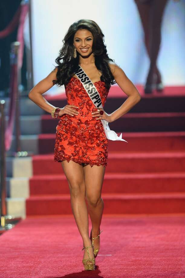Miss Mississippi USA Paromita Mitra walks onstage during the 2013 Miss USA pageant at PH Live at Planet Hollywood Resort & Casino on June 16, 2013 in Las Vegas, Nevada.