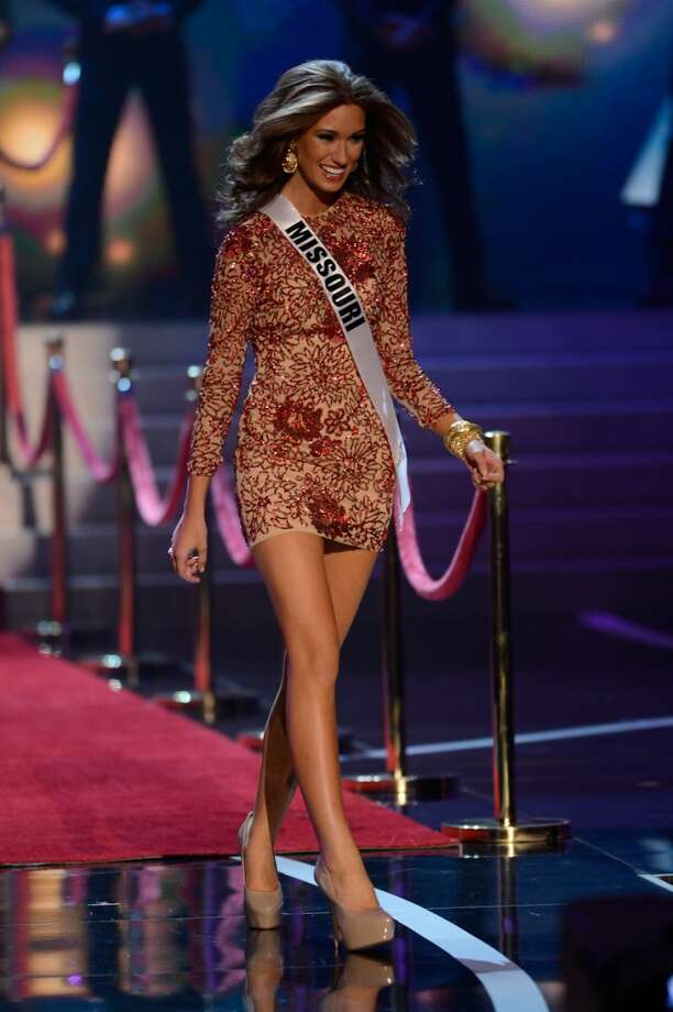 Miss Missouri Ellie Holtman walks onstage during the Miss USA 2013 pageant, Sunday, June 16, 2013, in Las Vegas.