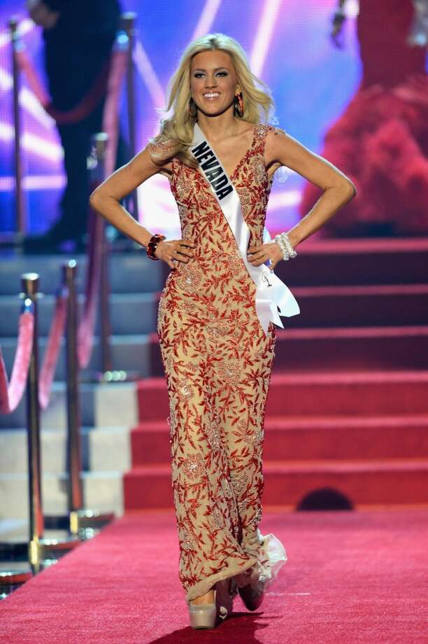 Miss Nevada USA Chelsea Caswell walks onstage during the 2013 Miss USA pageant at PH Live at Planet Hollywood Resort & Casino on June 16, 2013 in Las Vegas, Nevada.