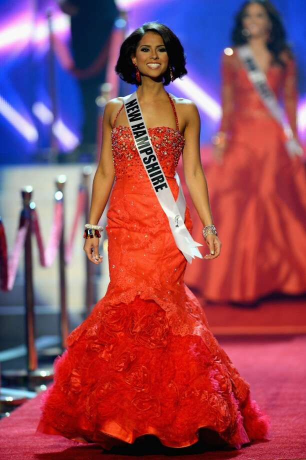 Miss New Hampshire USA Amber Faucher walks onstage during the 2013 Miss USA pageant at PH Live at Planet Hollywood Resort & Casino on June 16, 2013 in Las Vegas, Nevada.