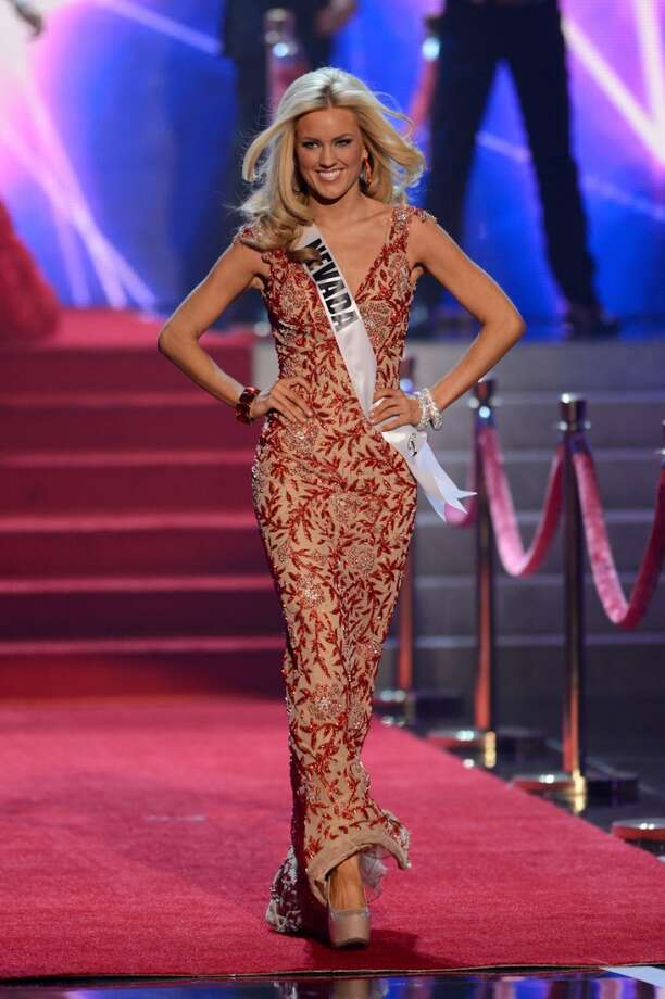 Miss Nevada Chelsea Caswell walks onstage during the Miss USA 2013 pageant, Sunday, June 16, 2013, in Las Vegas.