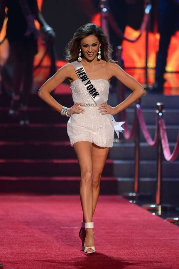 Miss New York Joanne Nosuchinsky walks onstage during the Miss USA 2013 pageant, Sunday, June 16, 2013, in Las Vegas.