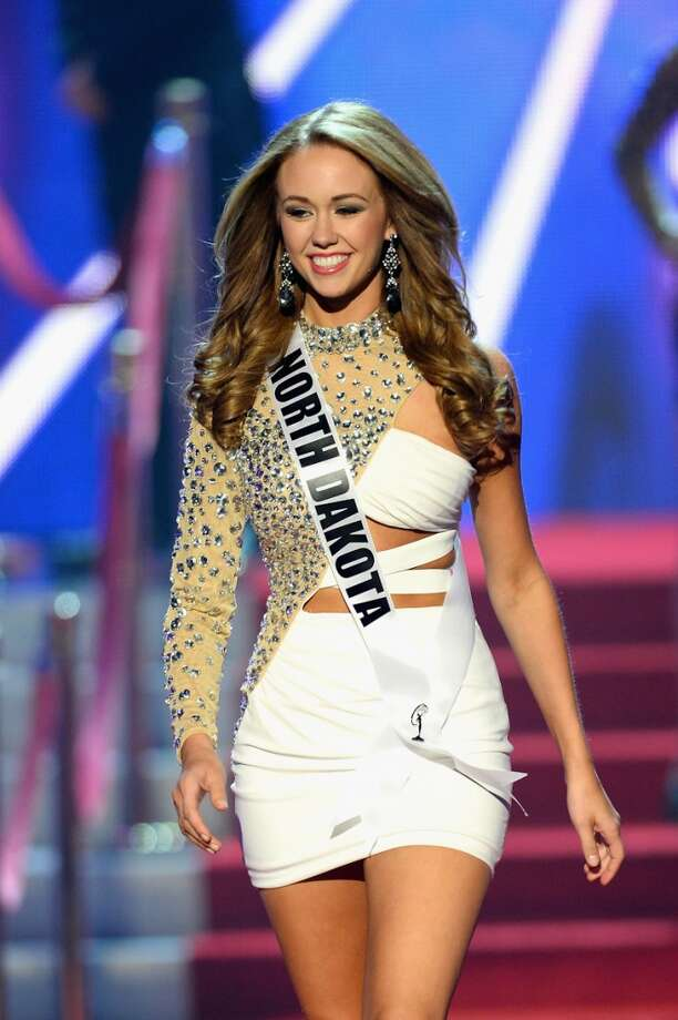 Miss North Dakota USA Stephanie Erickson walks onstage during the 2013 Miss USA pageant at PH Live at Planet Hollywood Resort & Casino on June 16, 2013 in Las Vegas, Nevada.