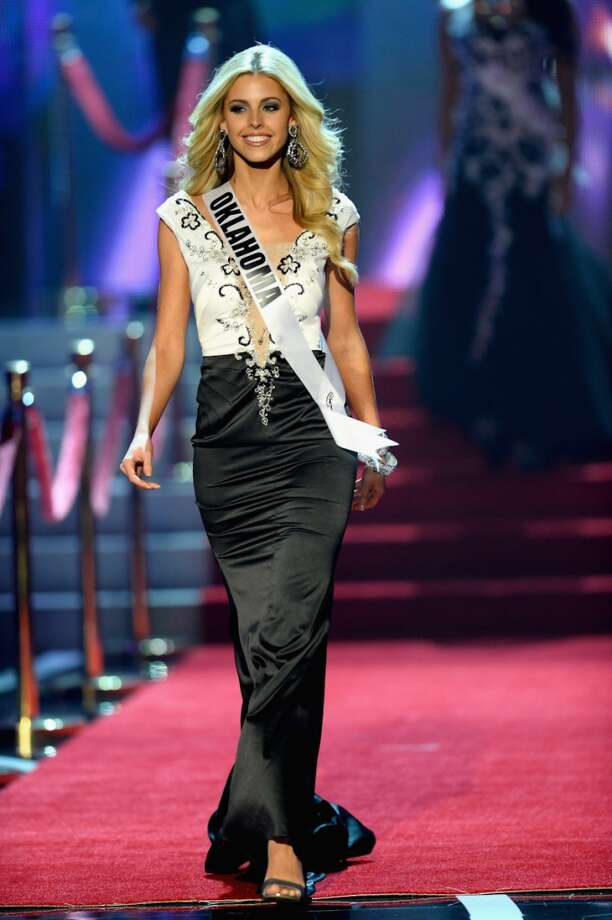 Miss Oklahoma Makenzie Muse walks onstage during the 2013 Miss USA pageant at PH Live at Planet Hollywood Resort & Casino on June 16, 2013 in Las Vegas, Nevada.