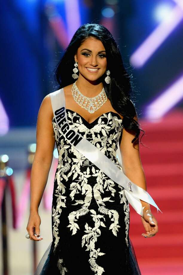 Miss Oregon USA Gabrielle Neilan walks onstage during the 2013 Miss USA pageant at PH Live at Planet Hollywood Resort & Casino on June 16, 2013 in Las Vegas, Nevada.