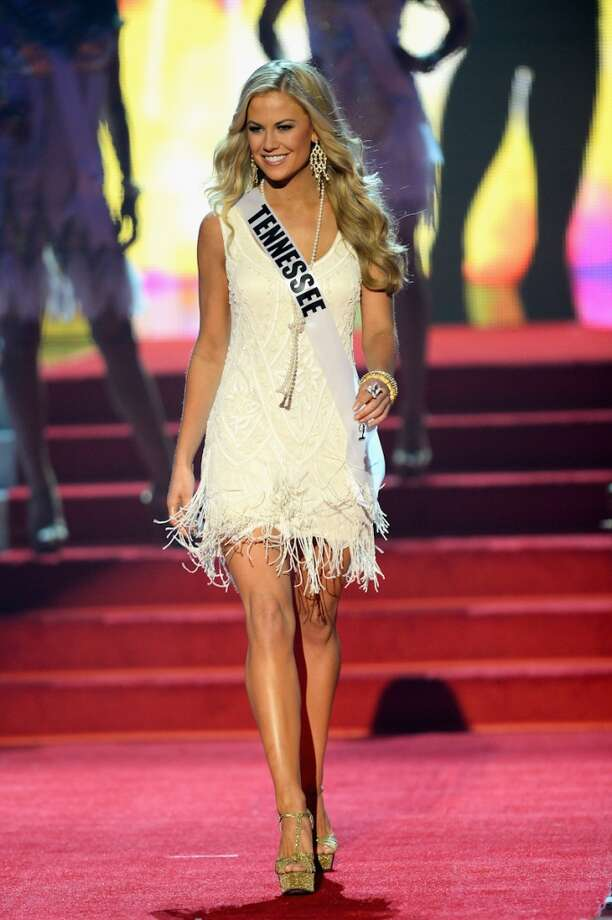 Miss Tennessee USA Brenna Mader walks onstage during the 2013 Miss USA pageant at PH Live at Planet Hollywood Resort & Casino on June 16, 2013 in Las Vegas, Nevada.