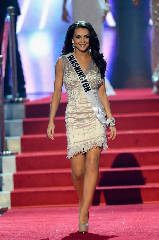 Miss Washington USA Cassandra Searles walks onstage during the 2013 Miss USA pageant at PH Live at Planet Hollywood Resort & Casino on June 16, 2013 in Las Vegas, Nevada.
