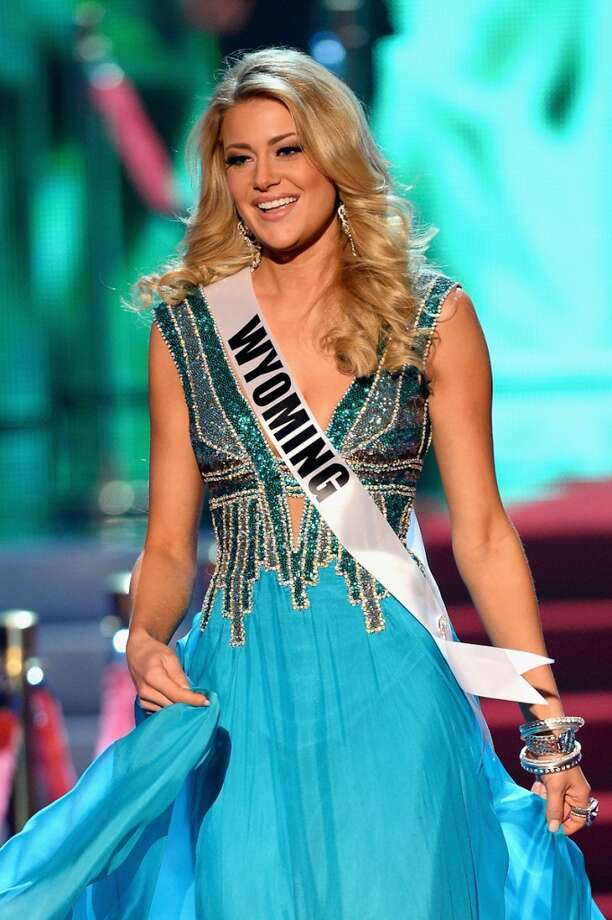 Miss Wyoming USA Courtney Gifford walks onstage during the 2013 Miss USA pageant at PH Live at Planet Hollywood Resort & Casino on June 16, 2013 in Las Vegas, Nevada.
