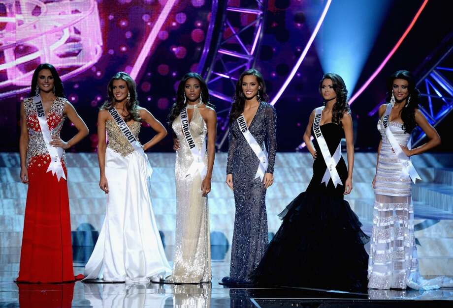 Top 6 finalists (Left to right) Miss Texas USA Alexandria Nichole Nugent, Miss Connecticut USA Erin Brady, Miss South Carolina USA Megan Tyler Pinckney, Miss Illinois USA Stacie Juris, Miss Alabama USA Mary Margaret McCord and Miss Utah USA Marissa Powell appear during the 2013 Miss USA pageant at PH Live at Planet Hollywood Resort & Casino on June 16, 2013 in Las Vegas, Nevada. Brady was crowned the new Miss USA and McCord was named the first runner-up.