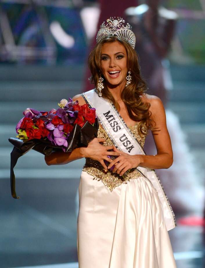 Miss Connecticut USA Erin Brady reacts after being crowned Miss USA during the Miss USA 2013 pageant, Sunday, June 16, 2013, in Las Vegas.