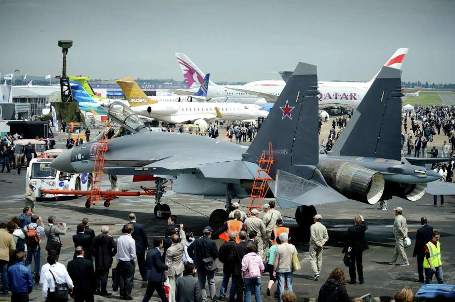 A Sukhoi SU-35 fighter jet is on display on Le Bourget airport on June 17, 2013, on the opening day of the Paris Air show. Photo: ERIC FEFERBERG, AFP/Getty Images / 2013 AFP