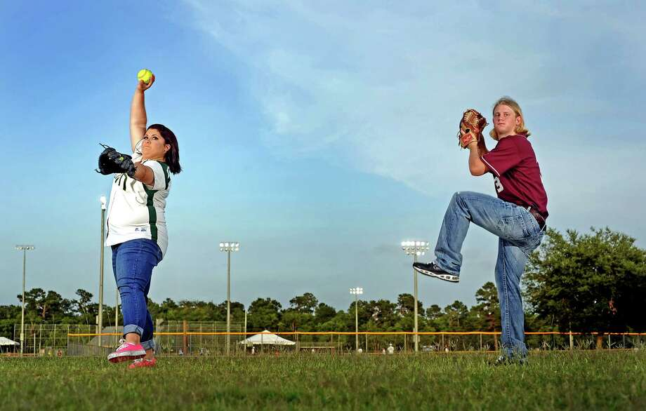 Little Cypres-Mauriceville High School softball pitcher Raven Cole, left, is 2013 Super Gold MVP for softball and Silsbee High School baseball pitcher Tyler Powell, right, is 2013 Super Gold MVP  for baseball. Photo taken: Randy Edwards/The Enterprise Photo: Randy Edwards