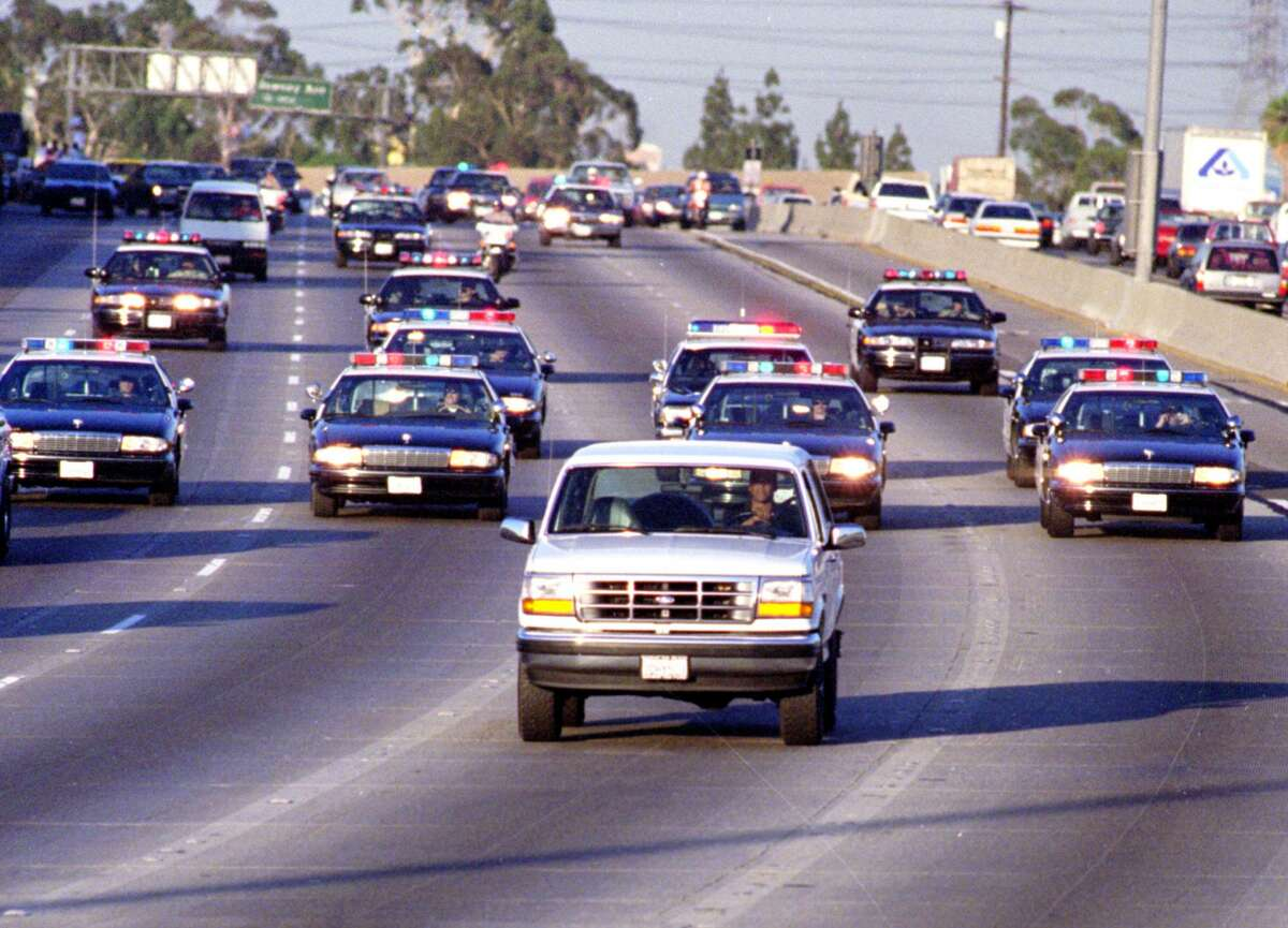 California Highway Patrol officers pursuing a Ford Bronco driven by Al Cowlings in Los Angeles as O.J. Simpson hides in the rear seat riveted a nation 25 years ago Monday. At the same time, the Rockets and Knicks played Game 5 of the NBA Finals, which was quickly put on the back burner.