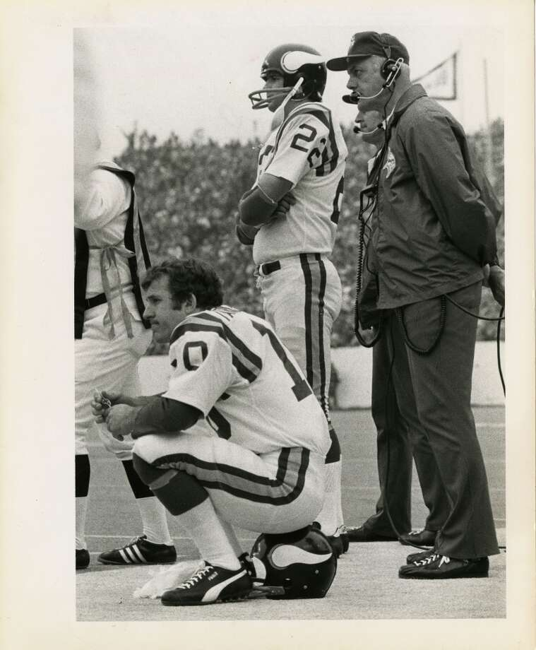 Vikings quarterback Fran Tarkenton on the sidelines during Super Bowl VIII against the Dolphins.